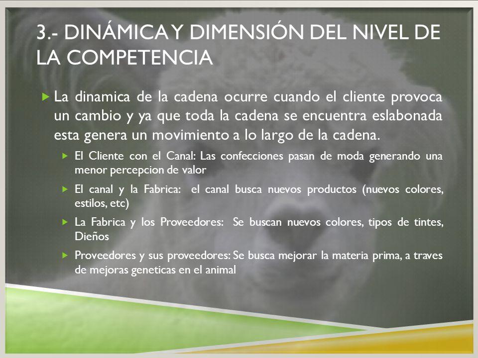 3.- DINÁMICA Y DIMENSIÓN DEL NIVEL DE LA COMPETENCIA La dinamica de la cadena ocurre cuando el cliente provoca un cambio y ya que toda la cadena se en