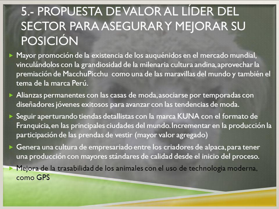 5.- PROPUESTA DE VALOR AL LÍDER DEL SECTOR PARA ASEGURAR Y MEJORAR SU POSICIÓN Mayor promoción de la existencia de los auquénidos en el mercado mundia