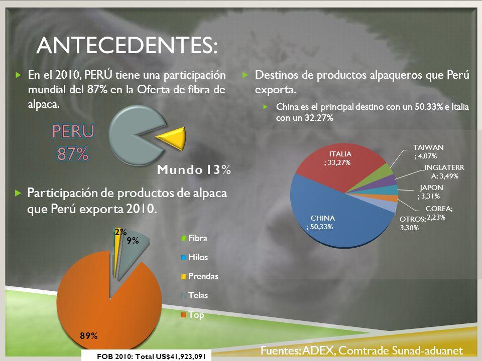 ANTECEDENTES: Destinos de productos alpaqueros que Perú exporta. China es el principal destino con un 50.33% e Italia con un 32.27% En el 2010, PERÚ t