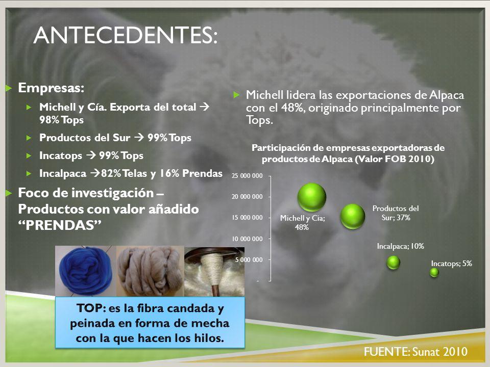 ANTECEDENTES: Michell lidera las exportaciones de Alpaca con el 48%, originado principalmente por Tops. Empresas: Michell y Cía. Exporta del total 98%