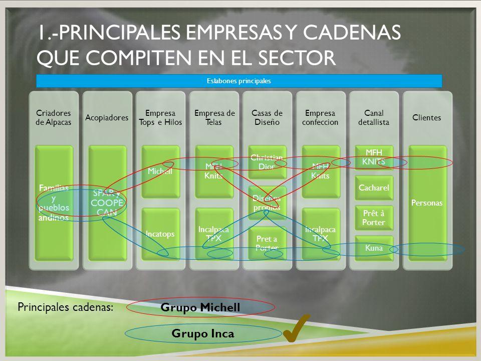1.-PRINCIPALES EMPRESAS Y CADENAS QUE COMPITEN EN EL SECTOR Criadores de Alpacas Familias y pueblos andinos Acopiadores SPAR y COOPE CAN Empresa Tops