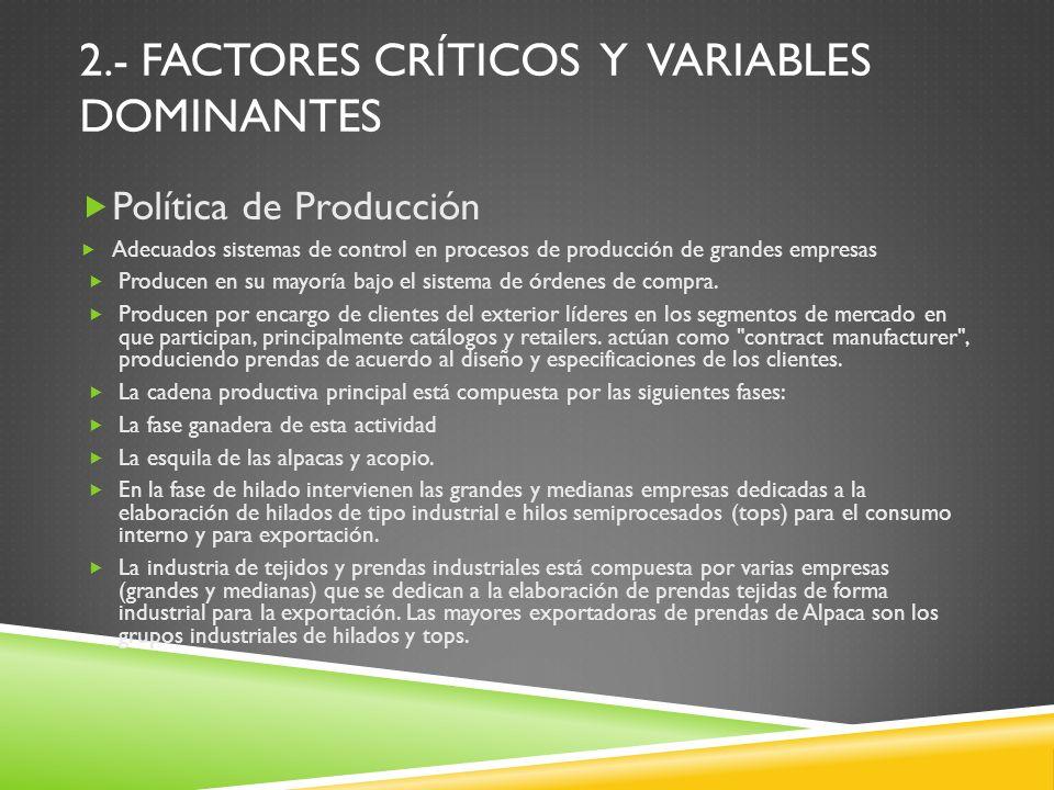 Política de Producción Adecuados sistemas de control en procesos de producción de grandes empresas Producen en su mayoría bajo el sistema de órdenes d