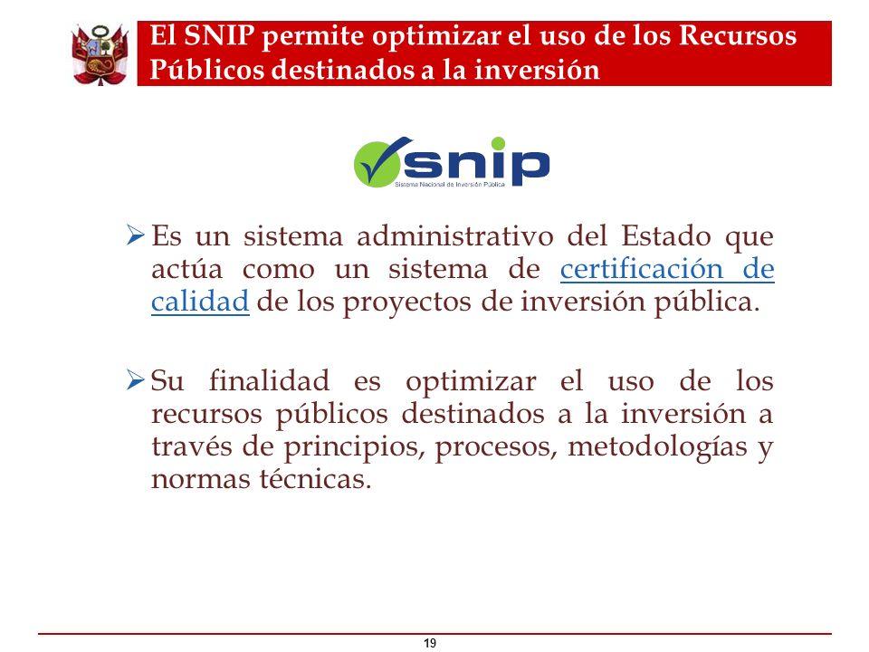 El SNIP permite optimizar el uso de los Recursos Públicos destinados a la inversión 19 ¿Qué es el ? Es un sistema administrativo del Estado que actúa