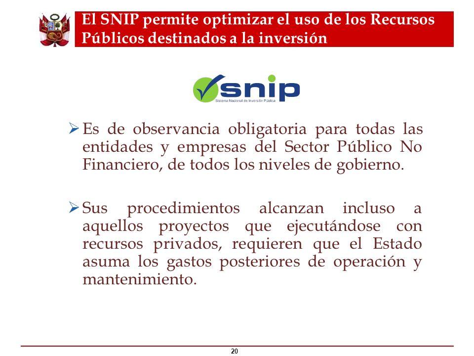 El SNIP permite optimizar el uso de los Recursos Públicos destinados a la inversión 20 ¿Qué es el ? Es de observancia obligatoria para todas las entid