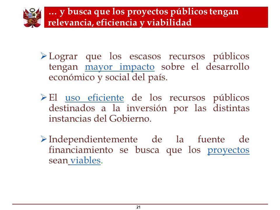 … y busca que los proyectos públicos tengan relevancia, eficiencia y viabilidad 21 ¿Qué es el ? Lograr que los escasos recursos públicos tengan mayor
