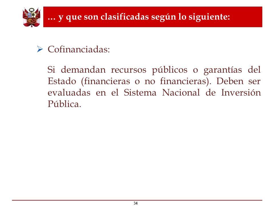 … y que son clasificadas según lo siguiente: 34 Cofinanciadas: Si demandan recursos públicos o garantías del Estado (financieras o no financieras). De
