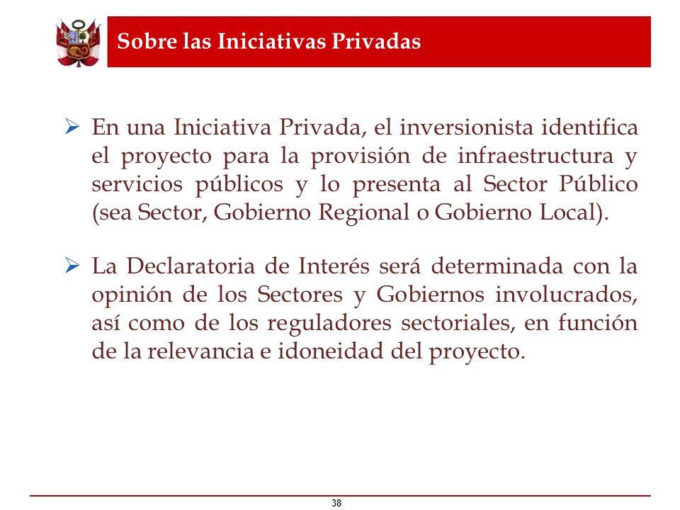 Sobre las Iniciativas Privadas 38 En una Iniciativa Privada, el inversionista identifica el proyecto para la provisión de infraestructura y servicios