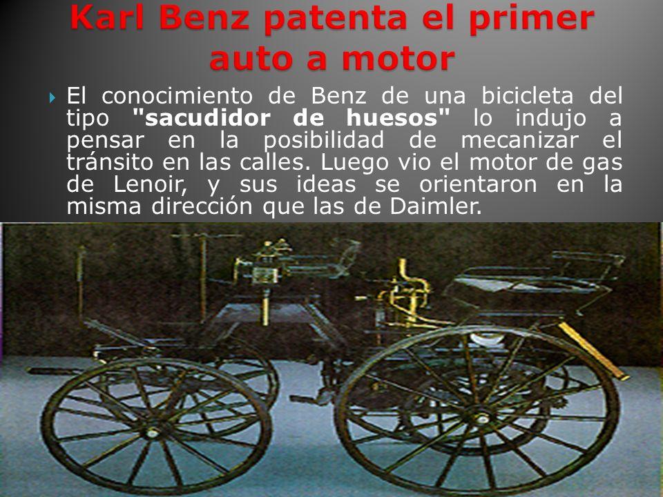 El conocimiento de Benz de una bicicleta del tipo sacudidor de huesos lo indujo a pensar en la posibilidad de mecanizar el tránsito en las calles.