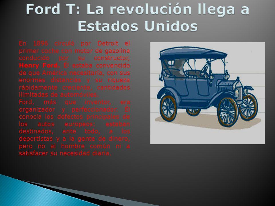 En 1896 circuló por Detroit el primer coche con motor de gasolina conducido por su constructor, Henry Ford.