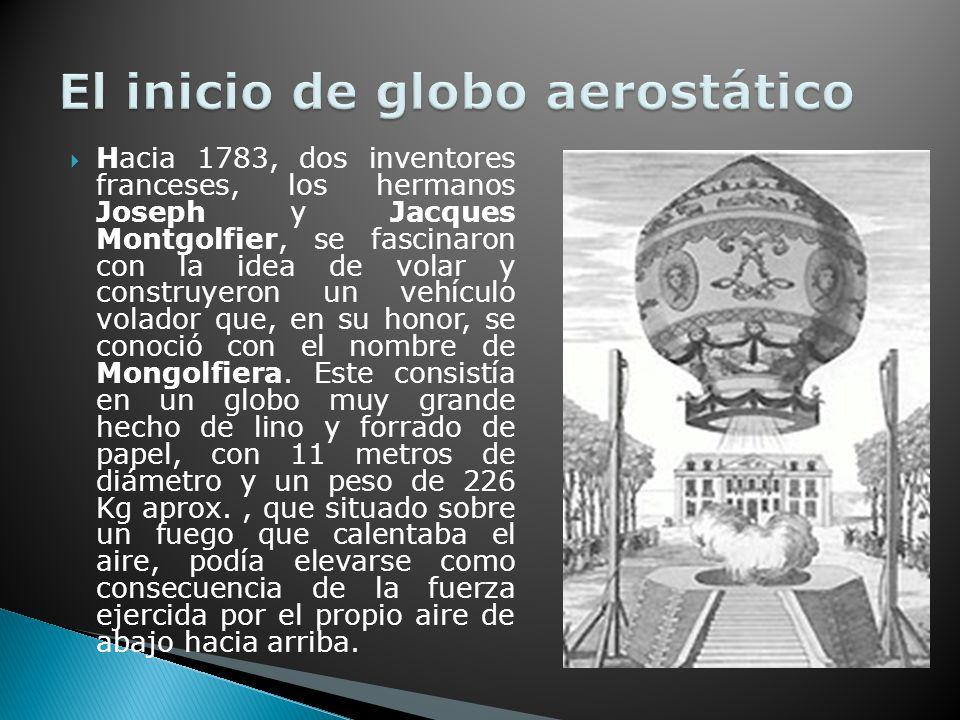 Hacia 1783, dos inventores franceses, los hermanos Joseph y Jacques Montgolfier, se fascinaron con la idea de volar y construyeron un vehículo volador que, en su honor, se conoció con el nombre de Mongolfiera.