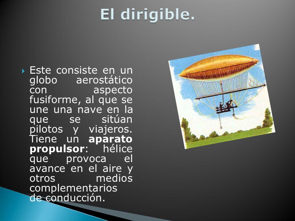 Este consiste en un globo aerostático con aspecto fusiforme, al que se une una nave en la que se sitúan pilotos y viajeros.