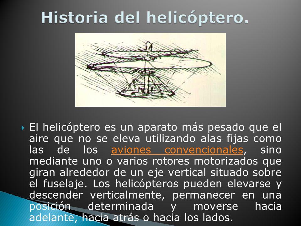 El helicóptero es un aparato más pesado que el aire que no se eleva utilizando alas fijas como las de los aviones convencionales, sino mediante uno o varios rotores motorizados que giran alrededor de un eje vertical situado sobre el fuselaje.