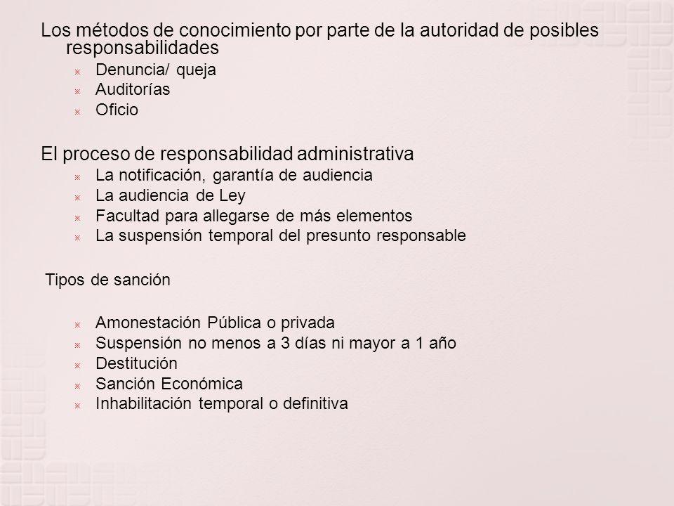 I. Amonestación privada o pública II. Suspensión del empleo, cargo o comisión por un período no menor de tres días ni mayor a un año III. Destitución