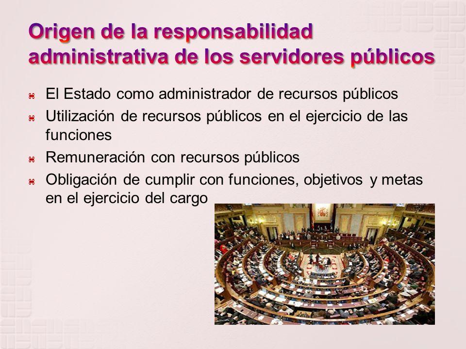 El Estado como administrador de recursos públicos Utilización de recursos públicos en el ejercicio de las funciones Remuneración con recursos públicos Obligación de cumplir con funciones, objetivos y metas en el ejercicio del cargo