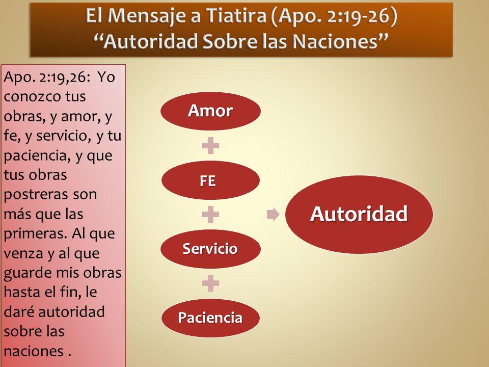 Apo. 2:19,26: Yo conozco tus obras, y amor, y fe, y servicio, y tu paciencia, y que tus obras postreras son más que las primeras. Al que venza y al qu