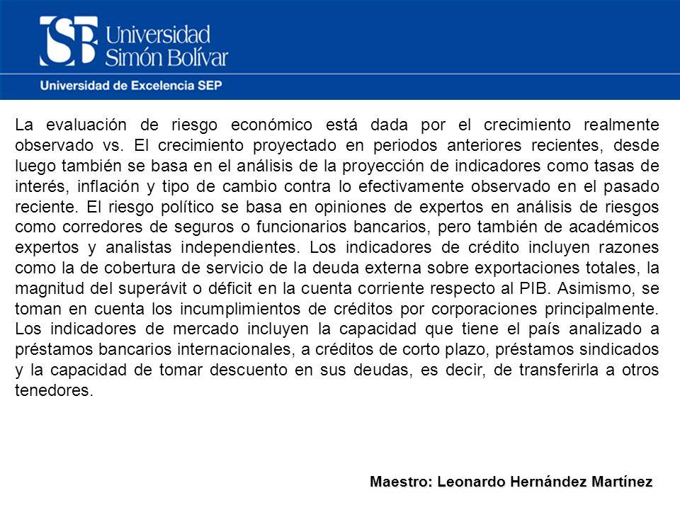 Maestro: Leonardo Hernández Martínez La evaluación de riesgo económico está dada por el crecimiento realmente observado vs.