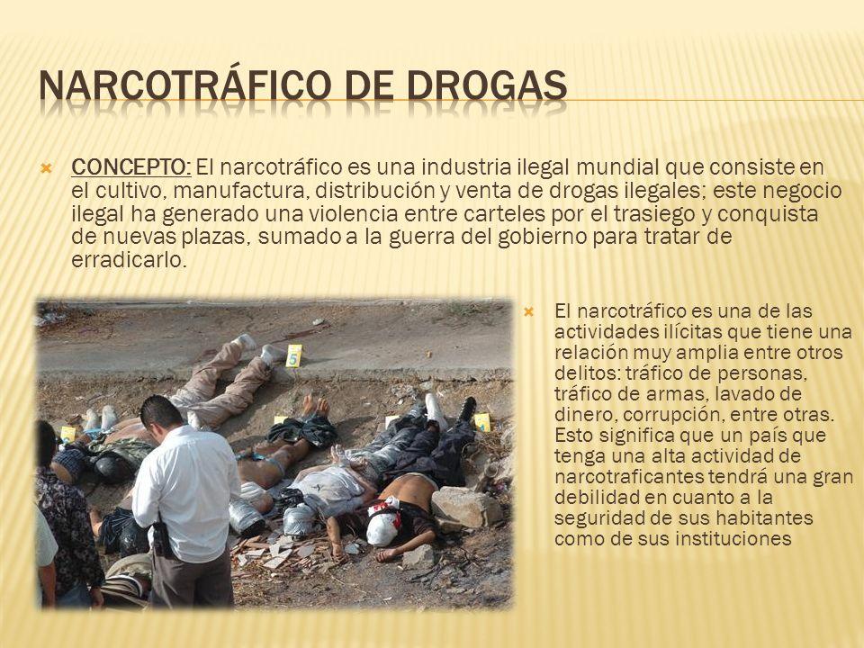 CONCEPTO: El narcotráfico es una industria ilegal mundial que consiste en el cultivo, manufactura, distribución y venta de drogas ilegales; este negoc