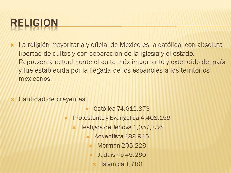 La religión mayoritaria y oficial de México es la católica, con absoluta libertad de cultos y con separación de la iglesia y el estado. Representa act