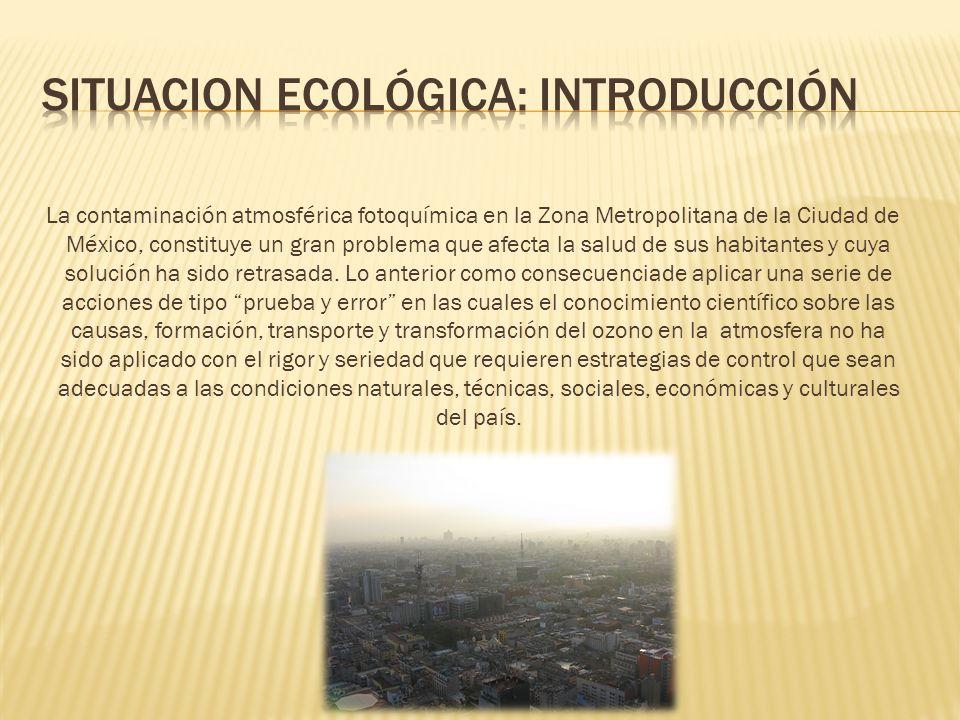 La contaminación atmosférica fotoquímica en la Zona Metropolitana de la Ciudad de México, constituye un gran problema que afecta la salud de sus habit