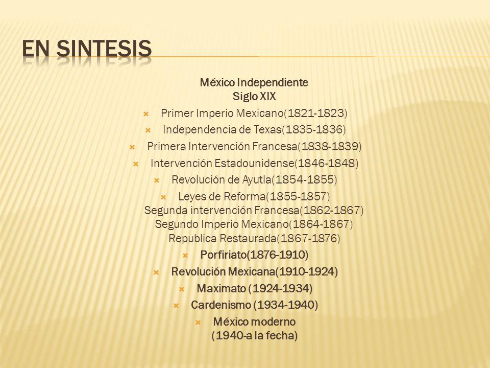 México Independiente Siglo XIX Primer Imperio Mexicano(1821-1823) Independencia de Texas(1835-1836) Primera Intervención Francesa(1838-1839) Intervenc