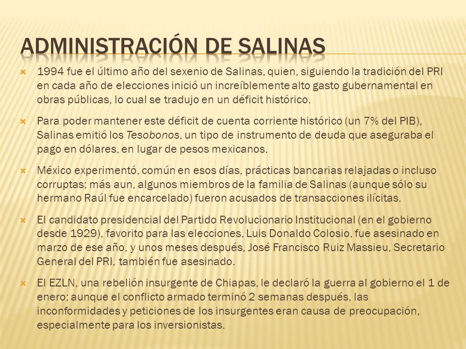 1994 fue el último año del sexenio de Salinas, quien, siguiendo la tradición del PRI en cada año de elecciones inició un increíblemente alto gasto gub