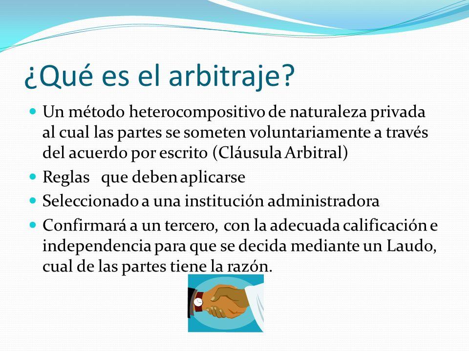 ¿Qué es el arbitraje? Un método heterocompositivo de naturaleza privada al cual las partes se someten voluntariamente a través del acuerdo por escrito