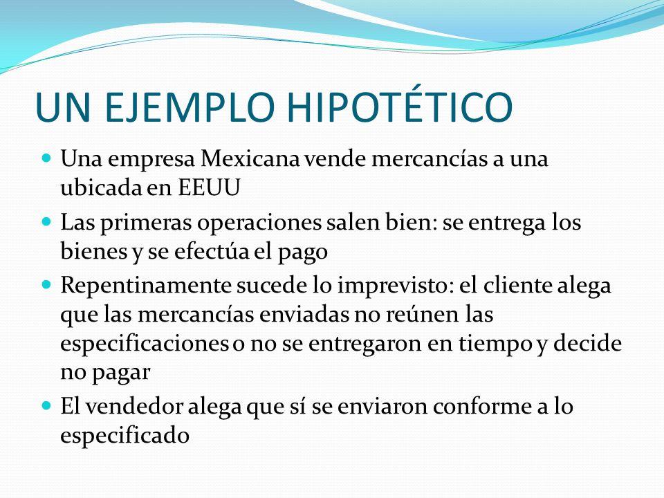 UN EJEMPLO HIPOTÉTICO Una empresa Mexicana vende mercancías a una ubicada en EEUU Las primeras operaciones salen bien: se entrega los bienes y se efec