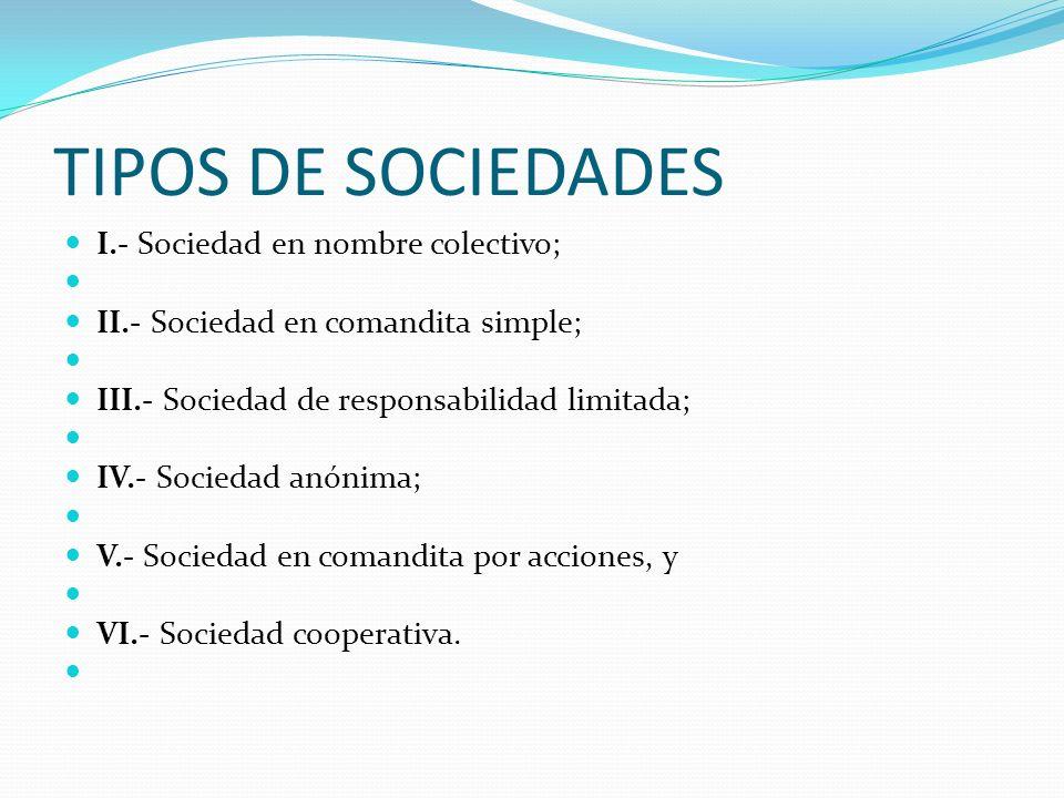 TIPOS DE SOCIEDADES I.- Sociedad en nombre colectivo; II.- Sociedad en comandita simple; III.- Sociedad de responsabilidad limitada; IV.- Sociedad anó