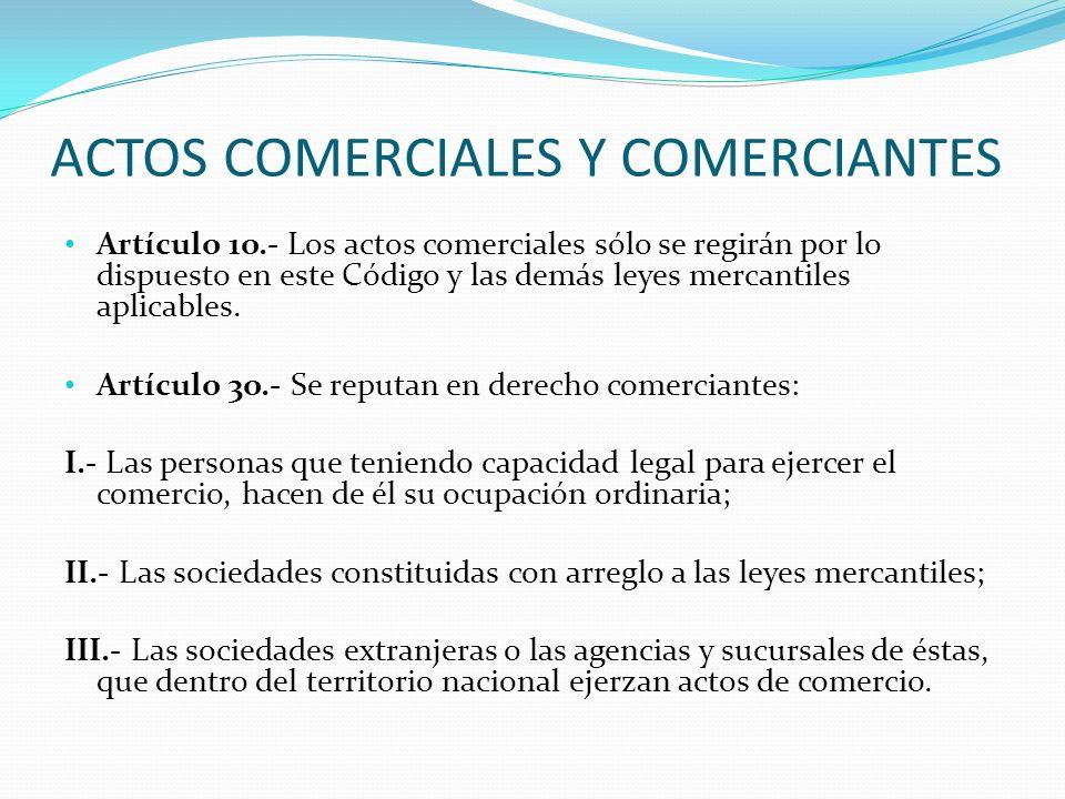 ACTOS COMERCIALES Y COMERCIANTES Artículo 1o.- Los actos comerciales sólo se regirán por lo dispuesto en este Código y las demás leyes mercantiles apl