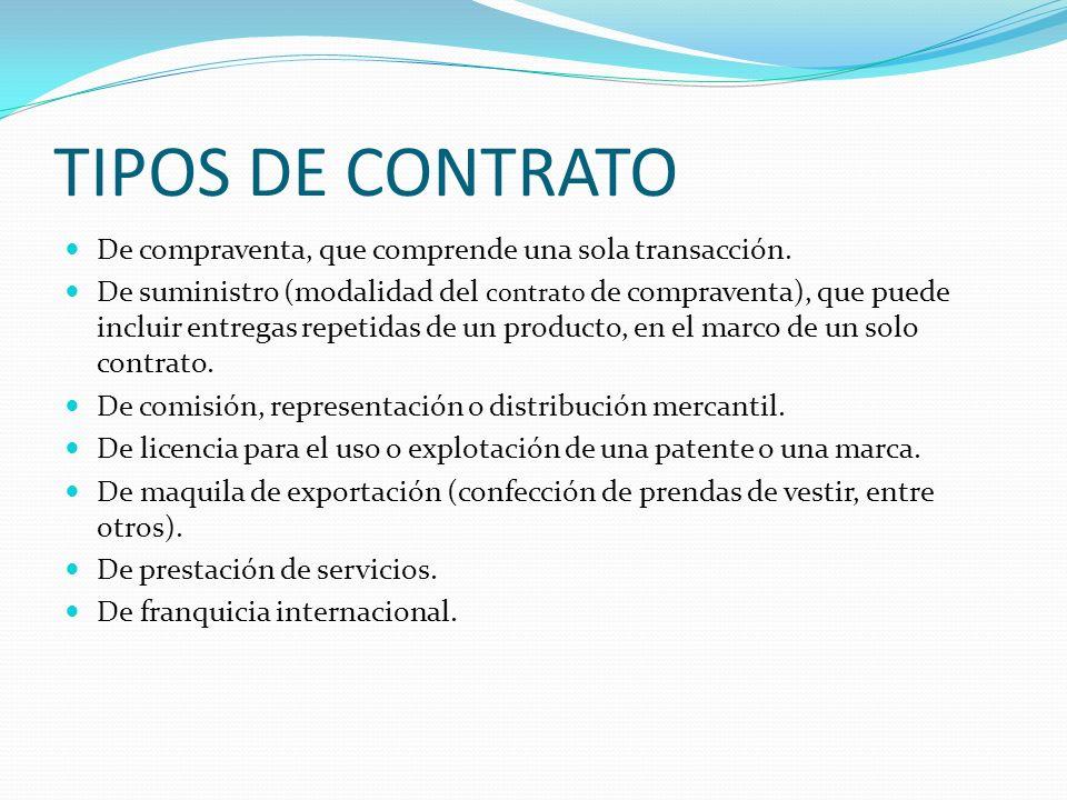 TIPOS DE CONTRATO De compraventa, que comprende una sola transacción. De suministro (modalidad del contrato de compraventa), que puede incluir entrega