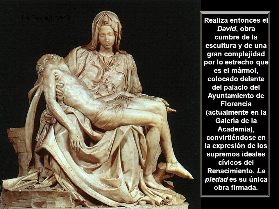 Tumba del Lorenzo de Médicis (Capilla Medicea) En 1496 decide marcharse a Roma, ciudad que le vio triunfar, iniciando una década de intensísima actividad generadora de arte, al término de la cual, sin haber alcanzado apenas los treinta años, se consagra como un artista puntero.