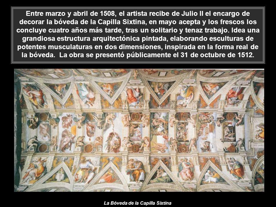 El 17 de abril de 1506 Miguel Ángel, enfadado, abandona Roma y se dirige a Florencia, pero a finales de noviembre, tras los numerosos llamamientos del Pontífice, que le amenazó con excomulgarle, se reúne con él en Bolonia.