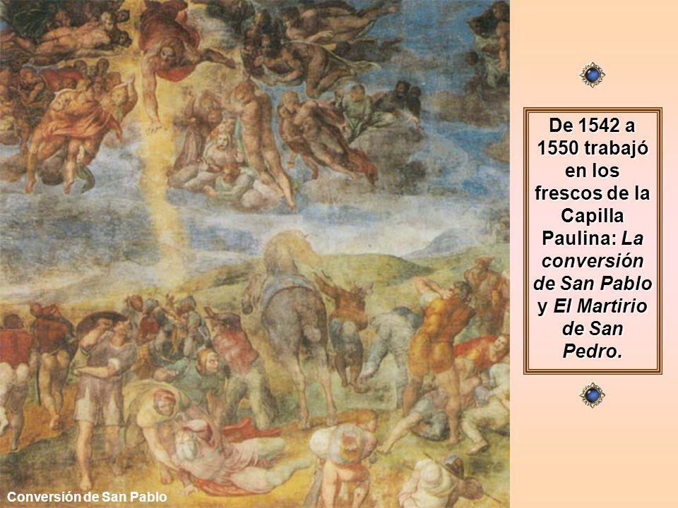 Terminado el Juicio Final, el Papa Pablo II le encarga la pintura de dos grandes frescos en la nueva Capilla Paulina del Vaticano, pero antes tenía que acabar la tumba de Julio II, lo que motivó un nuevo contrato en 1542, quedando saldado el encargo entre 1544 y 1545, con las dos nuevas figuras: Lía y Raquel.