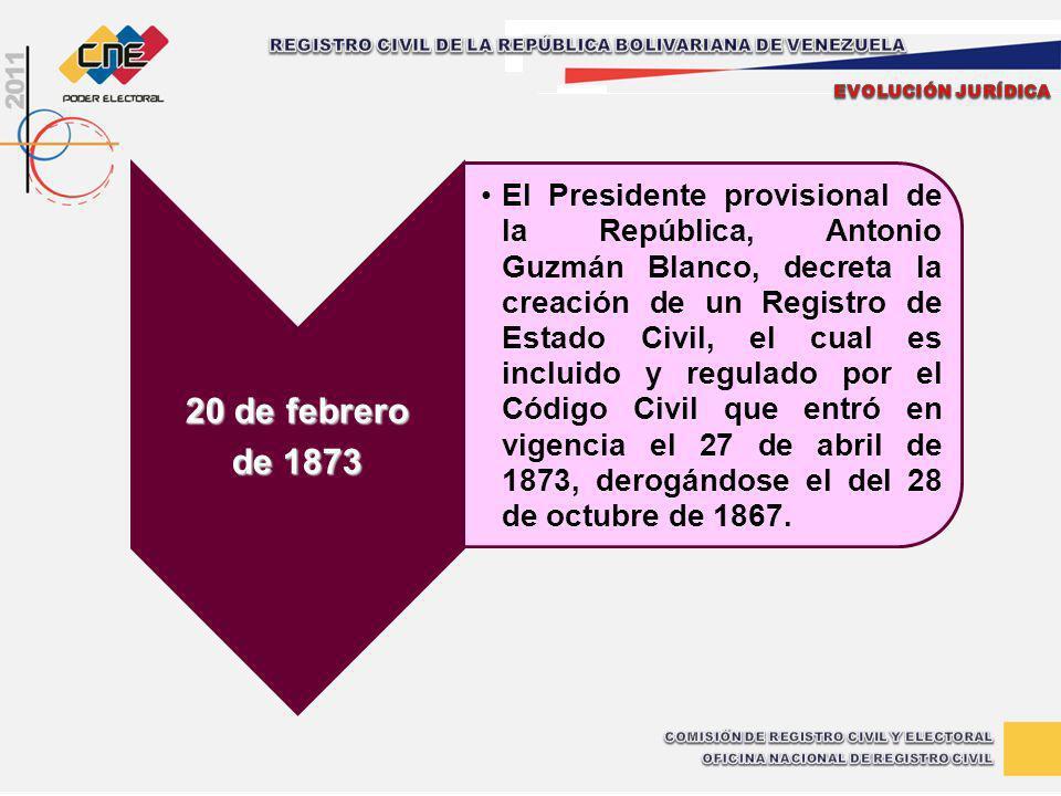 20 de febrero de 1873 El Presidente provisional de la República, Antonio Guzmán Blanco, decreta la creación de un Registro de Estado Civil, el cual es