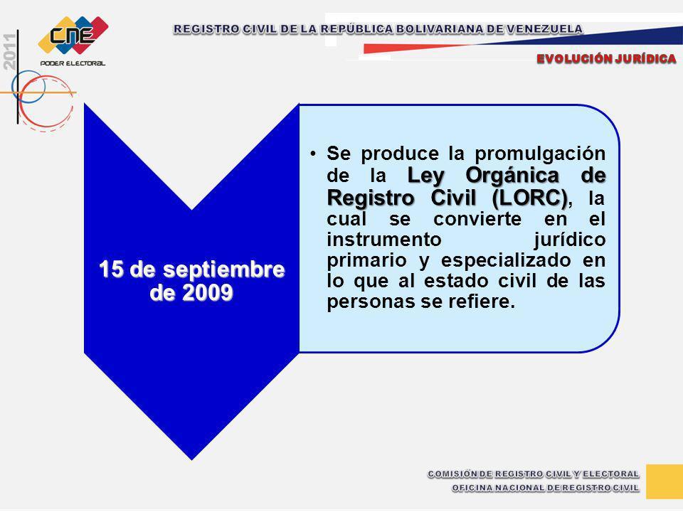 15 de septiembre de 2009 Ley Orgánica de Registro Civil (LORC)Se produce la promulgación de la Ley Orgánica de Registro Civil (LORC), la cual se convi