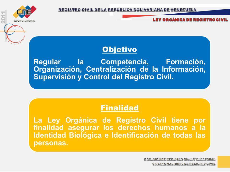 Objetivo Regular la Competencia, Formación, Organización, Centralización de la Información, Supervisión y Control del Registro Civil. Finalidad La Ley