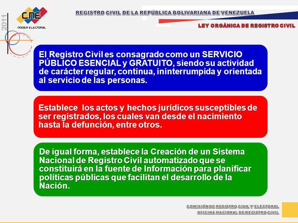 El Registro Civil es consagrado como un SERVICIO PÚBLICO ESENCIAL y GRATUITO, siendo su actividad de carácter regular, continua, ininterrumpida y orie