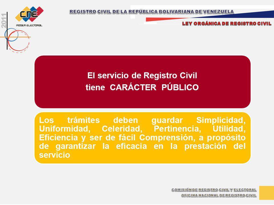 El servicio de Registro Civil tiene CARÁCTER PÚBLICO Los trámites deben guardar Simplicidad, Uniformidad, Celeridad, Pertinencia, Utilidad, Eficiencia