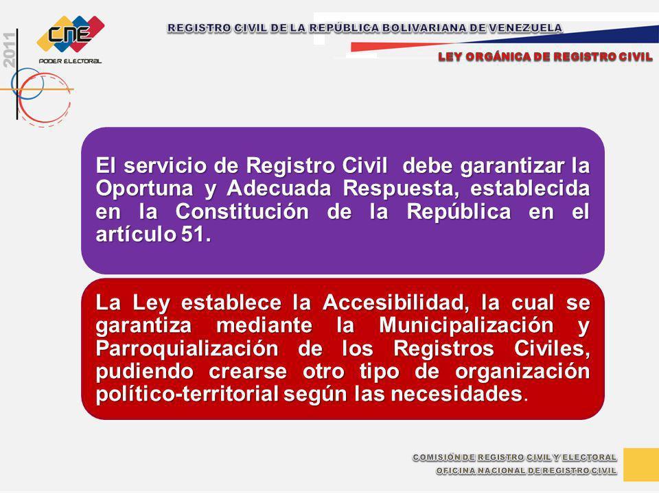 El servicio de Registro Civil debe garantizar la Oportuna y Adecuada Respuesta, establecida en la Constitución de la República en el artículo 51. La L