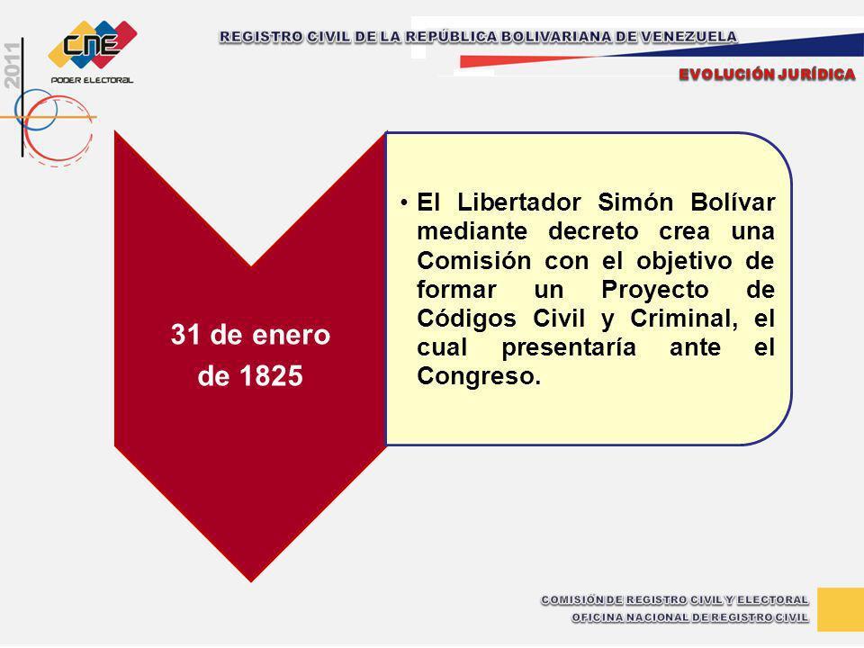 31 de enero de 1825 El Libertador Simón Bolívar mediante decreto crea una Comisión con el objetivo de formar un Proyecto de Códigos Civil y Criminal,