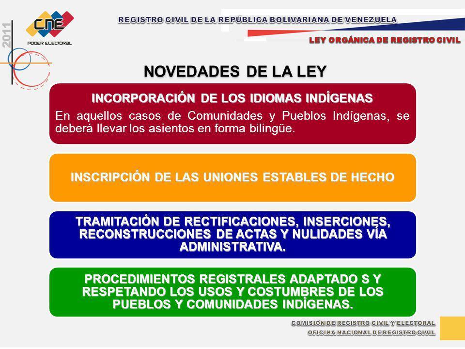 INCORPORACIÓN DE LOS IDIOMAS INDÍGENAS En aquellos casos de Comunidades y Pueblos Indígenas, se deberá llevar los asientos en forma bilingüe. INSCRIPC