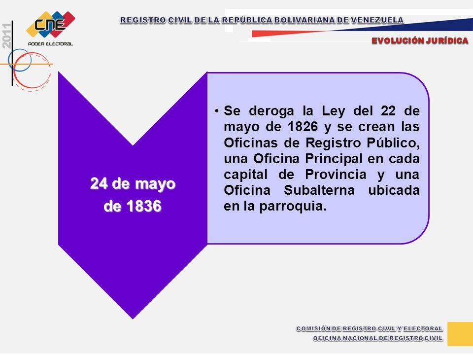 24 de mayo de 1836 Se deroga la Ley del 22 de mayo de 1826 y se crean las Oficinas de Registro Público, una Oficina Principal en cada capital de Provi