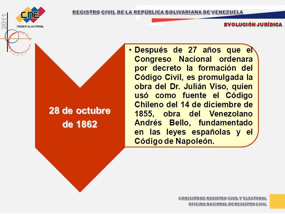 28 de octubre de 1862 Después de 27 años que el Congreso Nacional ordenara por decreto la formación del Código Civil, es promulgada la obra del Dr. Ju