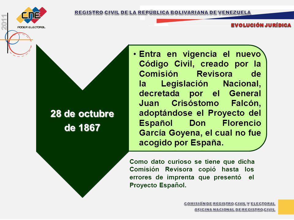 28 de octubre de 1867 Entra en vigencia el nuevo Código Civil, creado por la Comisión Revisora de la Legislación Nacional, decretada por el General Ju