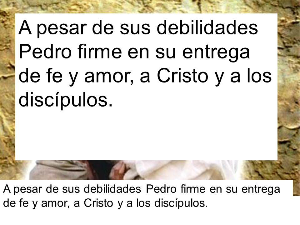 A pesar de sus debilidades Pedro firme en su entrega de fe y amor, a Cristo y a los discípulos.