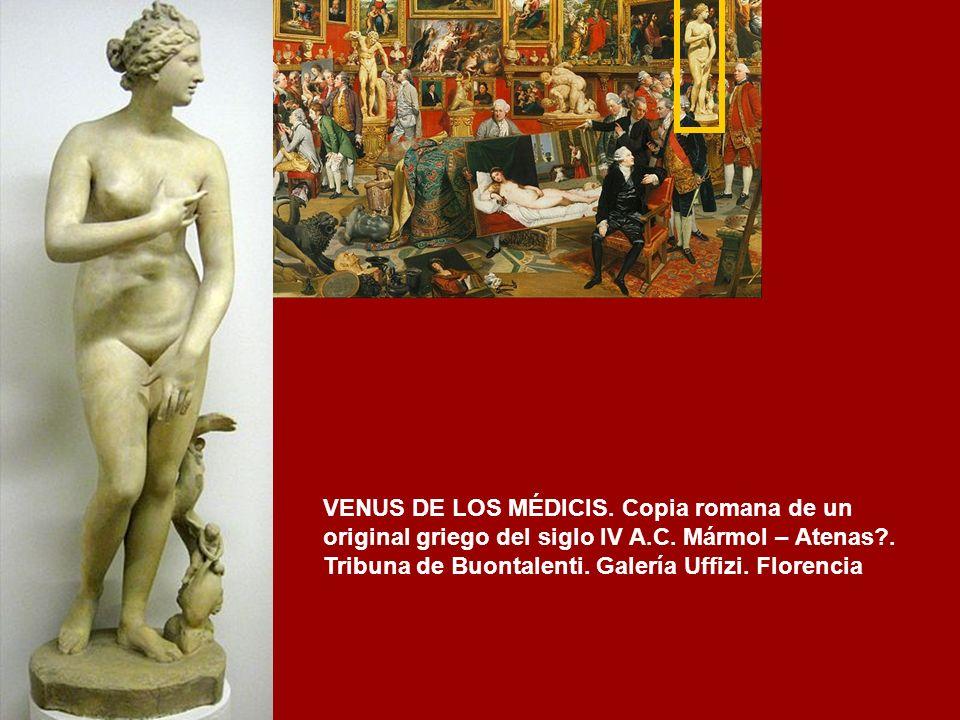 GRUPO DE LOS LUCHADORES.- Copia de un original de la escuela de Pérgamo. Mármol Tribuna de Buontalenti. Galería Uffizi. Florencia