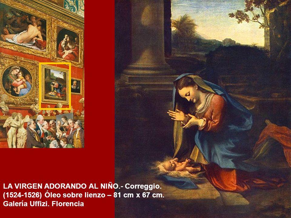 MADONNA DE LA SILLA.- Rafael Sanzio (1514) Óleo sobre tabla – 71 cm de diámetro Galería Palatina, Palacio Pitti, Florencia
