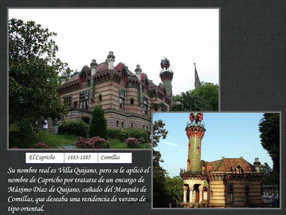 http://xistes.es Casa Vicens1883-1888Barcelona Gaudí recibió el encargo de Manuel Vicens i Montaner para una segunda residencia veraniega de la familia, propietaria de una fábrica de cerámica.