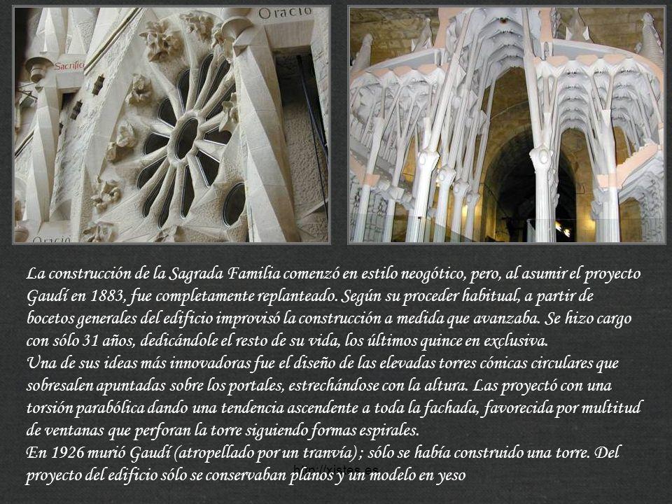 http://xistes.es La construcción de la Sagrada Familia comenzó en estilo neogótico, pero, al asumir el proyecto Gaudí en 1883, fue completamente repla