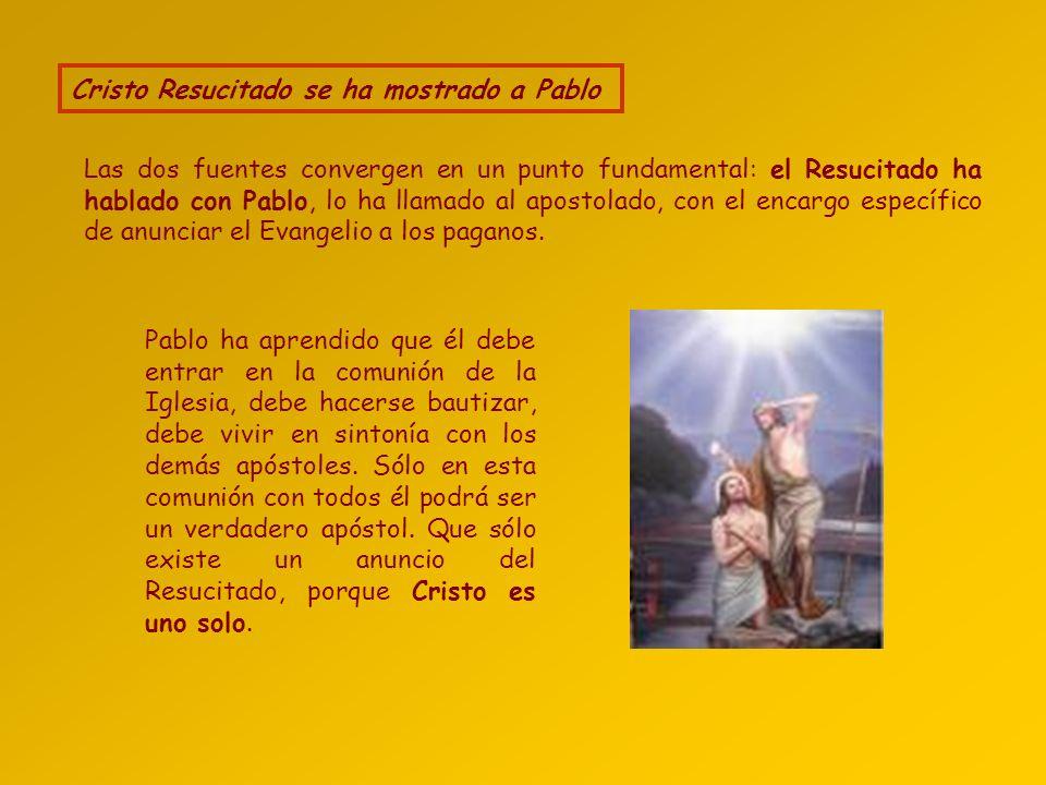 El testimonio del mismo Pablo: encuentro con el Resucitado Dice que Jesús murió crucificado, fue sepultado, y tras su resurrección se apareció primero